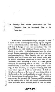 Cover of: The Boundary Line Between Massachusetts and New Hampshire, from the Merrimack River to the ..