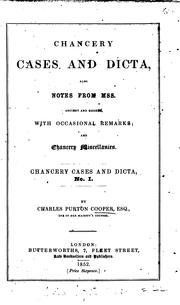 Cover of: Chancery Cases and Dicta: Also Notes from Mss., Ancient and Modern, with Occasional Remarks and ..