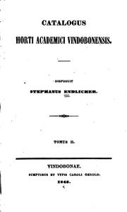 Cover of: Catalogus Horti academici vindobonensis