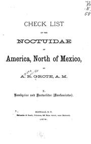 Cover of: Check list of the Noctuidae of America, North of Mexico