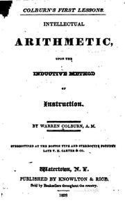 Cover of: Colburn's First Lessons: Intellectual Arithmetic, Upon the Inductive Method ..