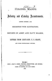 Cover of: Colonel Mann's Infantry and Cavalry Accoutrements: Patented December 8, 1863, Description with ..