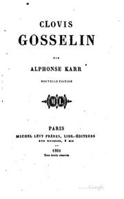 Cover of: Clovis Gosselin