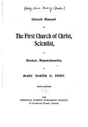 Cover of: Church Manual of the First Church of Christ, Scientist