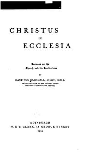 Cover of: Christus in Ecclesia: Sermons on the Church and Its Institutions