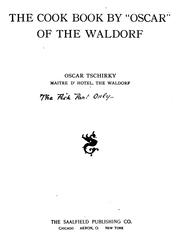 "Cover of: The Cook Book, by ""Oscar"" of the Waldorf 