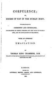 Cover of: Corpulence, or, Excess of fat in the human body