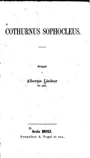 Cover of: Cothurnus Sophocleus