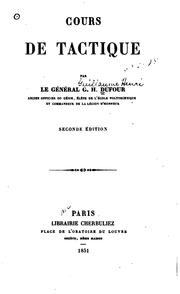 Cover of: Cours de tactigue