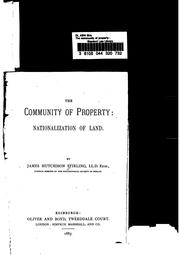 Cover of: The Community of Property: Nationalization of Land