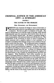 Cover of: Criminal Justice in the American City - a Summary