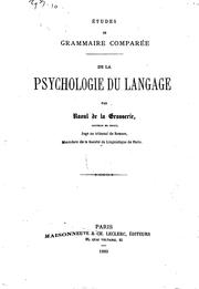 Cover of: De la psychologie du langage..