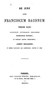 Cover of: De jure apud Franciscum Baconum