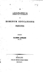Cover of: De Aristotelis in hominum educatione principiis