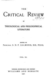 Cover of: The Critical Review of Theological & Philosophical Literature | Stewart Dingwall Fordyce Salmond