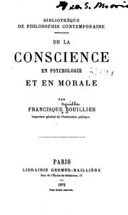 Cover of: De la conscience en psychologie et en morale