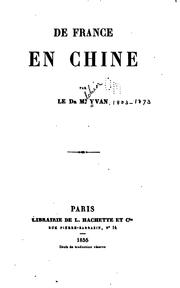 Cover of: De France en Chine | Melchior Yvan