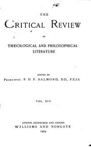 Cover of: The Critical Review of Theological & Philosophical Literature