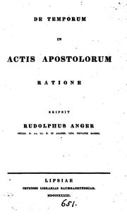 Cover of: De temporum in Actis Apostolorum ratione