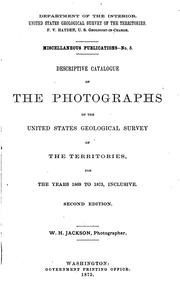 Cover of: Descriptive Catalogue of the Photographs of the United States Geological Survey of the ..