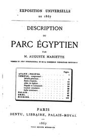 Cover of: Description du parc égyptien