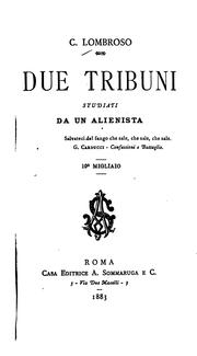 Cover of: Due tribuni studiati da un alienista