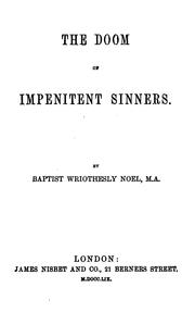 Cover of: The doom of impenitent sinners