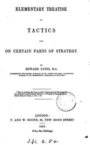 Cover of: Elementary treatise on tactics and on certain parts of strategy