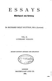 Cover of: Essays, Theological and Literary | Richard Holt Hutton