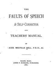 Cover of: The Faults of Speech: A Self-corrector and Teachers' Manual