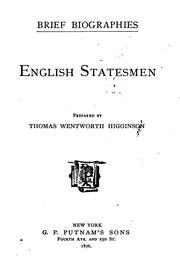 Cover of: English statesmen: prepared by Thomas Wentworth Higginson.