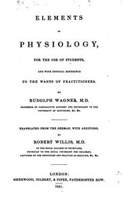 Cover of: Elements of physiology. Tr., with additions, by R. Willis