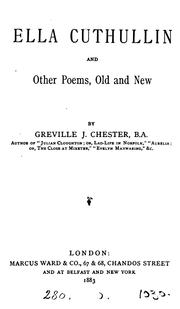 Cover of: Ella Cuthullin, and other poems | Greville John Chester