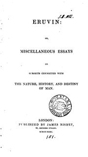 Cover of: Eruvin; or, Miscellaneous essays on subjects connected with the nature, history and destiny of ..