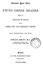 Cover of: Fifth Greek reader, with notes by E. Abbott