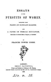 Cover of: Essays on the pursuits of women. Also a paper on Female education