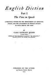 Cover of: English Diction for Singers and Speakers