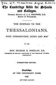 Cover of: The Epistles to the Thessalonians | George Gillanders Findlay