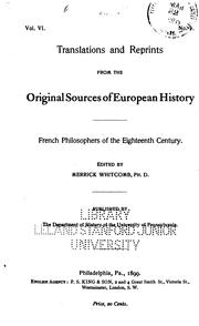 Cover of: French Philosophers of the Eighteenth Century