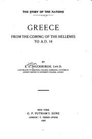 Cover of: Greece, from the Coming of the Hellenes to A. D. 14 | Evelyn S. Shuckburgh