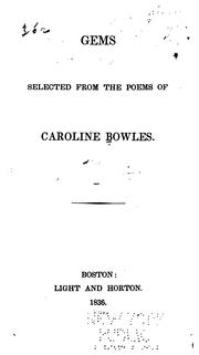 Cover of: Gems Selected from the Poems of Caroline Bowles | Caroline Bowles Southey