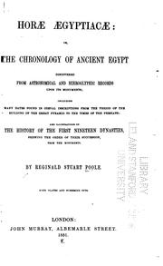 Cover of: Horae Aegypticae: Or, The Chronology of Ancient Egypt Discovered from Astronomical and ..