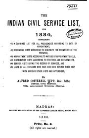 Cover of: The Indian Civil Service List, for 1880 ..