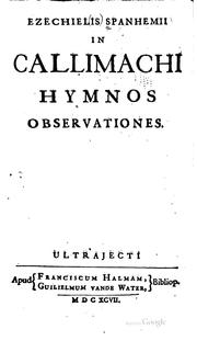 Cover of: In Callimachi hymnos observationes