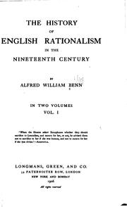 Cover of: The History of English Rationalism in the Nineteenth Century: In Two Volumes ..