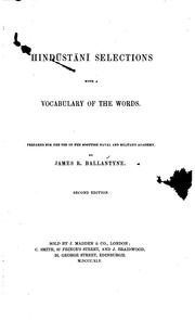 Cover of: Hindūstānī Selections: With a Vocabulary of the Words | James Robert Ballantyne
