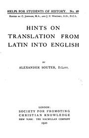 Cover of: Hints on Translation from Latin Into English