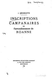 Cover of: Inscriptions companaires de l'arrondissement de Roanne