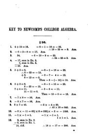 Cover of: Key to Newcomb's College Algebra