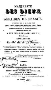 Cover of: Manifeste des dieux sur les affaires de France: Apparition de S.A.R. la feue ..